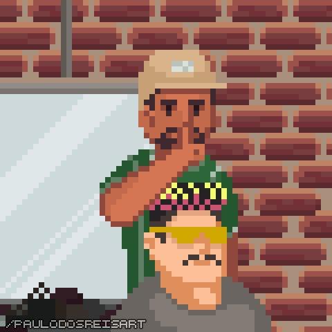 Ariel Barbeiro em pixel art